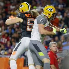 Body bump. Clay and Jordy after Jordy scored a TD in the n2015 Pro Bowl.