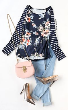2478605e07 Navy Striped Raglan Sleeve Floral Print T-shirt with denim jeans and sliver  heels from
