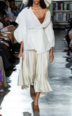 Mia Cotton Poplin Wrap Top by Rejina Pyo Satin Midi Skirt, Pleated Skirt, Rejina Pyo, Linen Shirt Dress, Linen Jackets, Contemporary Fashion, Cotton Sweater, Fashion Brand, Cool Style