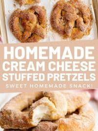 Cream Cheese Recipes, Cream Cheese Filling, Graham Cracker Crumbs, Graham Crackers, Stuffed Pretzels, Pretzel Dough, Homemade Soft Pretzels, Dry Yeast