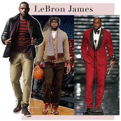 LeBron James investe em peças marcantes, jaquetas volumosas e cores marcantes. Há desde estampas combinadas a tonalidades neutras para o dia a dia aos visuais monocromáticos (nada discretos) como o look vermelho usado em uma premiação
