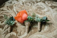Sweet peach & succulent boutonnieres