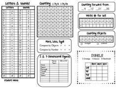 Teacher Time Savers: Kindergarten Common Core Assessent Quick Sheet (free!!)