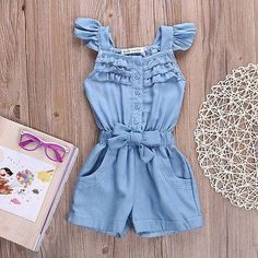 Summer Baby Girls Clothes Toddler Kids Cotton Ruffles Sleeveless Jeans Denim Casual Bow Jumpsuit Girls Romper Overall Clothes Baby Outfits, Kids Outfits, Denim Romper, Romper Outfit, Denim Jumpsuit, Toddler Fashion, Kids Fashion, Trendy Fashion, Baby Kind