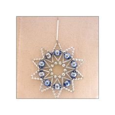 """Blue and Silver Glass Bead Lace Star Ornament ~ 3"""" ~ Czech Republic"""