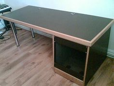 12u Rack and desk black with oak trim_ recording studio furniture | Flickr - Photo Sharing!