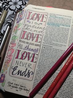1 Corinthians 13 - Love - Bible Journaling by Nola Faith Bible, My Bible, Bible Scriptures, Scripture Art, Bible Art, Bible Study Journal, Art Journaling, Scripture Journal, Corinthians Bible
