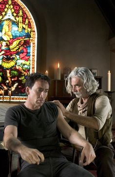 Nicolas Cage (left) and Sam Elliott (right) star in Columbia Pictures' Ghost Rider. Photo By: Jasin Boland Nicolas Cage, Love Movie, I Movie, Movie Stars, Sam Elliott Pictures, Ghost Rider 2007, Katharine Ross, Tom Selleck, Love Sam