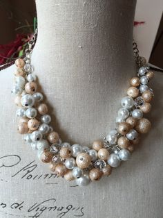 Textured and glass pearls in champagne ivory and white chunky