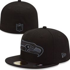 best service f092d e62cb Seattle Seahawks New Era NFL Black on Black 59Fifty Fitted Hat Size 7 3 8