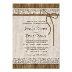 Burlap Rehearsal Dinner Invitation With Lace