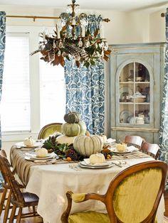 herbstliche Tischdeko skandinavischen Stil und Shabby Chic