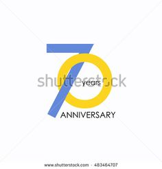 70 years anniversary, signs, symbols, which is yellow and blue with flat design style