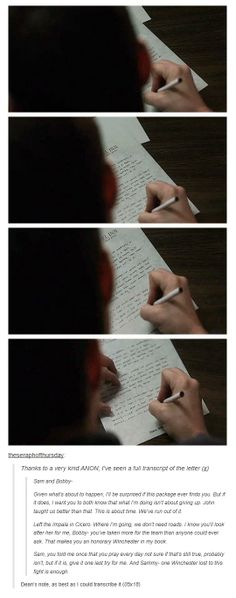 [GIFS] Dean's note from 5x18