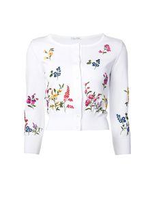 Oscar de la renta Floral Embroidered Cardigan in White | Lyst