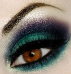 Dark blue and teal #smoky #eye #makeup #dramatic by Bows and Curtseys