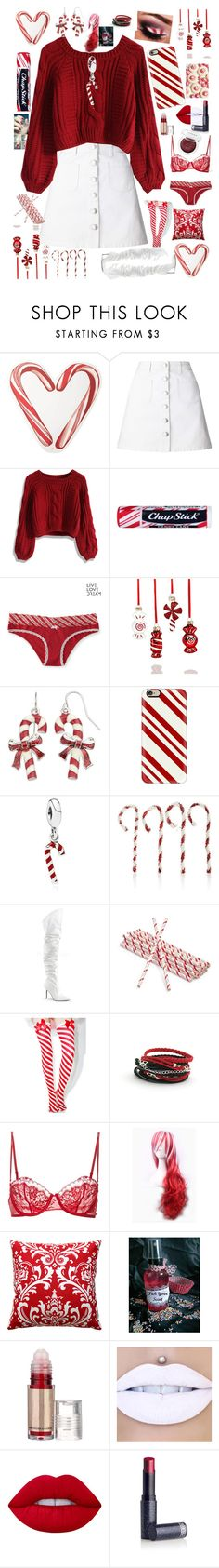 """Candy Canes are only Special when they're from You"" by gothgirl87454 ❤ liked on Polyvore featuring Draper James, Miss Selfridge, Chicwish, Chapstick, Aéropostale, Holiday Lane, Casetify, Pandora, Bethany Lowe and Classique"