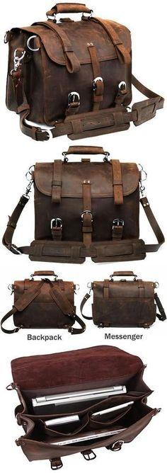 Large Vintage Leather Backpack / Travel Bag / Briefcase / Satchel - 2 ways: backpack / messenger(S102) - Thumbnail 4