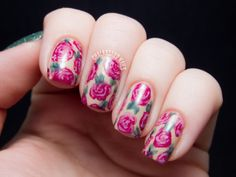 Watercolored Roses and a Textured Accent http://www.chalkboardnails.com/2013/12/watercolored-roses-and-textured-accent.html?utm_source=feedburner&utm_medium=email&utm_campaign=Feed%3A+chalkboardnails%2FThLK+%28Chalkboard+Nails%29