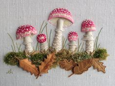 Stumpwork mushrooms, made by me!