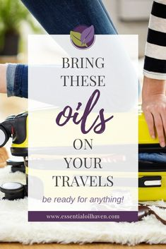 Are you going on a trip soon? Don't leave your essential oils at home! Here's which 5 oils to take with you when traveling - plus handy tips for traveling with essential oils. If you have a getaway planned, start here! Essential Oils For Headaches, Citrus Essential Oil, Essential Oil Bottles, Essential Oil Diffuser Blends, Tea Tree Essential Oil, Essential Oil Uses, Handy Tips, Helpful Hints, Holistic Healing