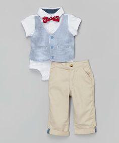 Look what I found on #zulily! Khaki & Blue Vest Bodysuit Set - Infant #zulilyfinds