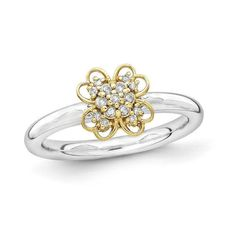 #Valentines #AdoreWe #Zales - #Zales Stackable Expressions™ 1/10 CT. T.w. Diamond Flower Ring in Sterling Silver with 14K Gold Plate - AdoreWe.com