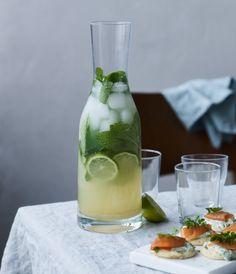 Læskende lemonade, med mynte, ingefær og lime