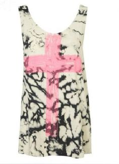 White Ink Pink Cross Print Cotton Sleeveless Tank Top