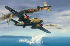The Ordeal of Tondelayo, by Jack Fellows (B-25 Mitchell vs A6M3 Zero)