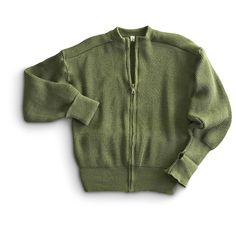 New Swedish Military Full - Zip Sweater, Olive Drab - 759173, Sweaters at Sportsman's Guide