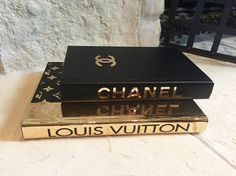 Black and Gold Designer Books Chanel Louis Vuitton 2 Books coffee table Coffee Table Styling, Coffee Table Books, Decorating Coffee Tables, Coffee Table Design, Fashion Design Books, Book Design, Chanel Book Decor, Chanel Room, Gold Book