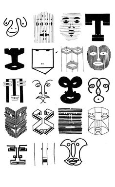 Bruno Munari: Drawings of Faces – Multiple Identities of a Face Illustrations, Illustration Art, Typographie Logo, Art Graphique, Figurative Art, Book Design, Design Art, Typography, Sketches