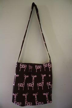 Pink/Brown Giraffe Over the Body Bag   #handmade #bag #purse #sewing