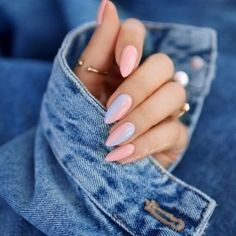 Find images and videos about pink, blue and nails on We Heart It - the app to get lost in what you love. Spring Nail Trends, Spring Nails, Summer Nails, Colored Acrylic Nails, Baby Blue Nails, Popular Nail Art, Glitter Manicure, Nude Nails, Nagellack Trends