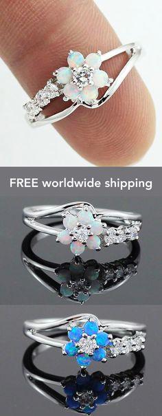 Flower Fire Opal Ring