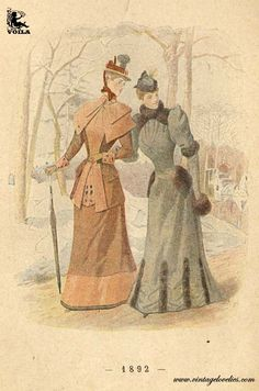 Victorian outerwear ca. 1800s Fashion, Victorian Fashion, Women's Fashion, Free Download, Feminine Style, Colour Images, Ephemera, Museum, Painting