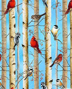 North American Wildlife - Birds in Birch Trees - Sky Blue Bird Quilt, Tree Quilt, Willow Green, Cartoon Birds, Take Shelter, Watercolor Galaxy, Blue Quilts, Decoupage, Fairy Dust