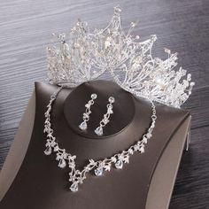 Silver Wedding Jewelry, Silver Tiara, Rhinestone Wedding, Wedding Jewelry Sets, Black Tiara, Bride Tiara, Wedding Hair Accessories, Jewelry Accessories, Hair Jewelry