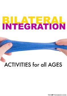 Try these bilateral integration activities and coordination ideas to promote use of both hands together in activities such as handwriting, cutting with scissors and so many other tasks! Gross Motor Activities, Gross Motor Skills, Sensory Activities, Infant Activities, Activities For Kids, Writing Activities, Sensory Diet, Occupational Therapy Activities, Physical Therapy