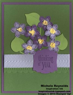 """Handmade card by Michele Reynolds, Inspiration Ink, using punch art violets and Stampin' Up! products - Petite Petals Set, Peaceful Petals Set, 3/4"""" Chevron Ribbon, Artisan Label Punch, Bird Builder Punch, Petite Petals Punch, Itty Bitty Shapes Punch Pack, and Chalk Marker."""