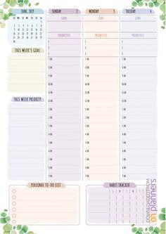Weekly Hourly Planner, Weekly Planner Template, Daily Planner Pages, Budget Planner, Life Planner, Printable Planner, Schedule Templates, Weekly Calendar, Printables