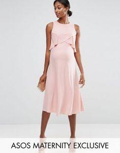ASOS Maternity WEDDING Double Layer Midi Dress