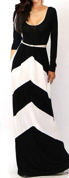 Chevron zig zag long sleeve maxi dress // I have no idea where I would wear this but it looks really pretty