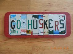 Go Huskers License Plate Sign Nebraska by TreasuredSunsets on Etsy, $36.95