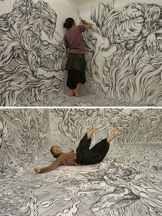 Yosuke Goda has elevated wall drawings from mere scrawlings to fine art. Goda's incredibly intricate drawings cover entire rooms, including the floors, and create fantastical worlds you want to jump right into.