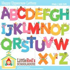 Clip Art: Happy Uppercase Letters with Punctuation Clipart $