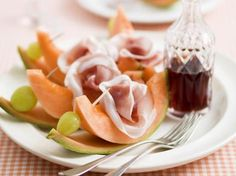 Meloen met ham en porto