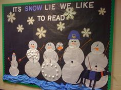 "Cute winter bulletin board. I of course would put ""It's snow lie we like music!"""