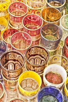Moroccan Tea Glasses. I'd build a set with all kinds of different colors and patterns. That way everyone could choose a glass they liked